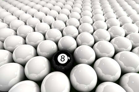 surrounded: Eight ball surrounded by white billiard balls