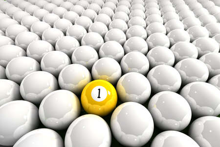 Yellow one ball surrounded by white billiard balls Stock Photo - 3017793