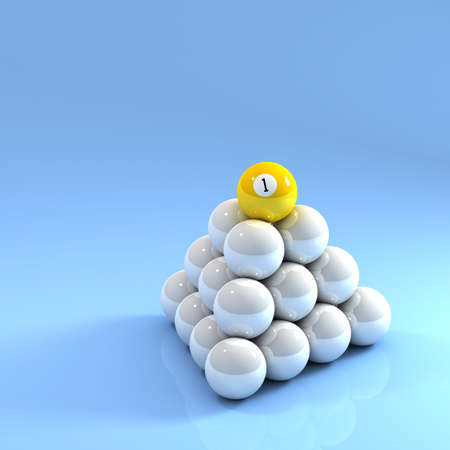billard: Number One ball on top of a pyramid of white pool balls Stock Photo