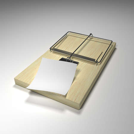 exterminating: Mouse trap with a piece of paper to display your risky message
