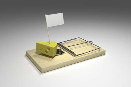 tempting: Mouse trap loaded with cheese and your tempting message