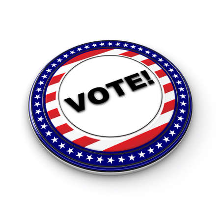voters: 3D US election button over white background
