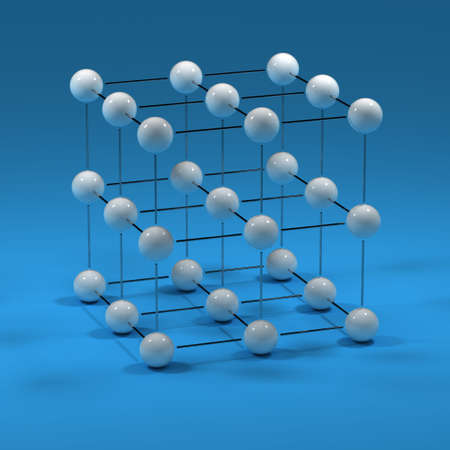 three dimensions: Cube Mesh - 3D cube mesh with white knots Stock Photo