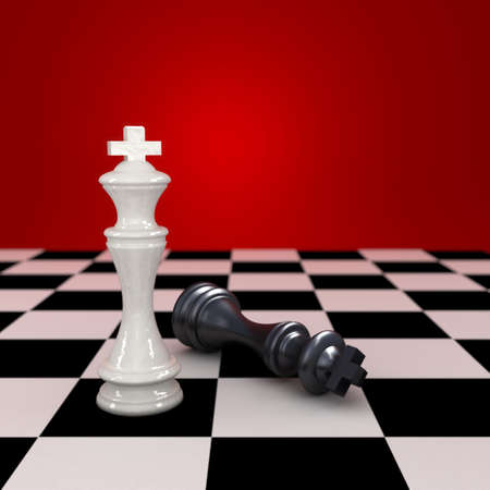 checkmate: White king stands tall next to defeated black king