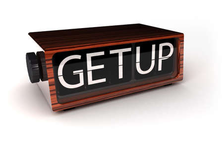 get up: concept image of vintage clock showing you to get up