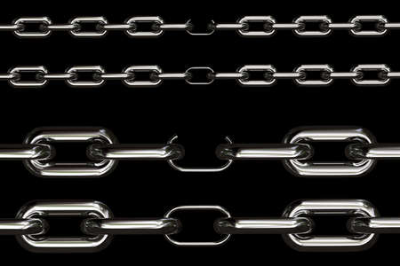 weakest: Four different views on chains with their weakest link over black background
