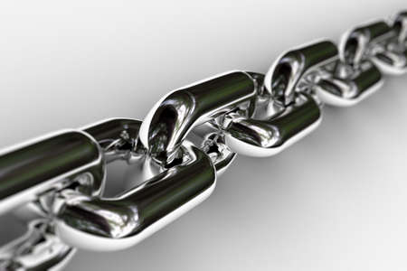 Closeup of a few links of a chrome chain with very shallow depth of field Stock Photo