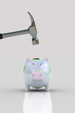 Piggy Bank with a scared facial expression when a hammer is about to smash it photo
