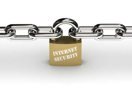 Padlock that symbolizes internet security holding chain safely in place Stock Photo - 3247606
