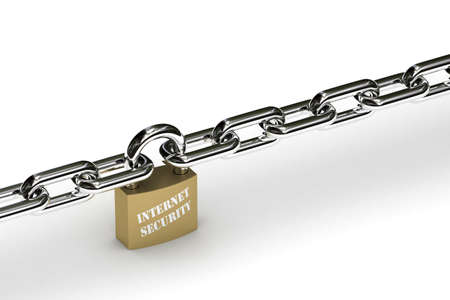 Padlock that symbolizes internet security holding chain safely in place Stock Photo - 3247604