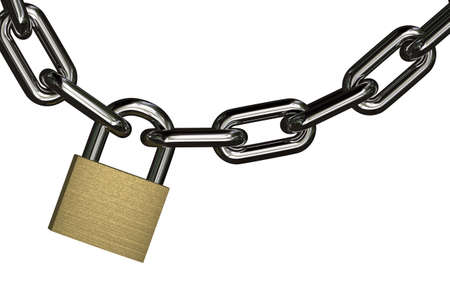restricted: Padlock with chain over pure white background for very easy isolation