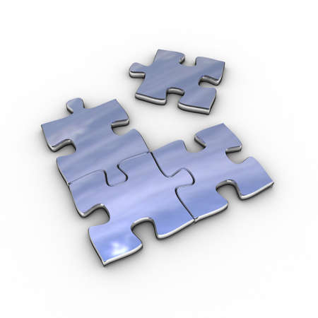 Chrome puzzle without the matching piece Stock Photo - 3251458