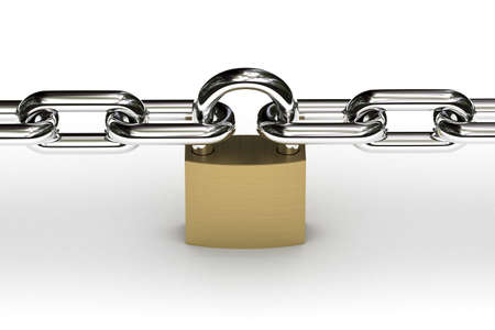 deny: Padlock securing two chains over white background Stock Photo