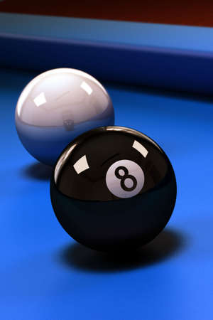 Eight ball with white pool ball on blue pool table photo