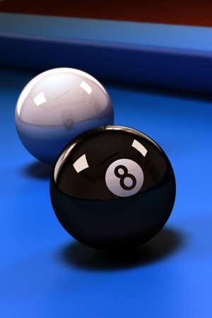 bola ocho: Ocho pelota con piscina de bolas blancas en azul mesa de billar
