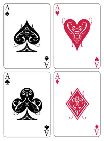 spade: Vector illustration of four aces