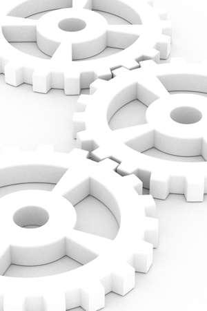 Illustration of white gear wheels over white background illustration
