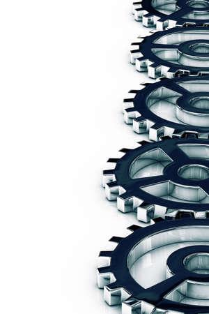 aligned: Gear wheels aligned along the right border Stock Photo