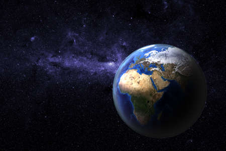 atmospheric: Planet earth - view onto Europe and Africa of a photo realistic and highly detailed  rendering with atmospheric layer Stock Photo