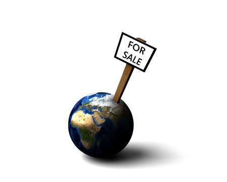 home buyer: Earth for sale illustration over bright background Stock Photo