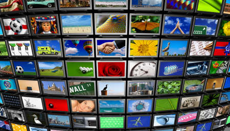 Big installation of Flat Panel TVs displaying different images Stock Photo - 3494821