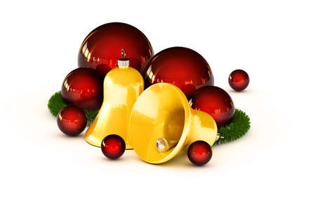 Golden jingle bells with red ornaments and fir branch photo