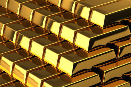 A pile of nice shiny gold bars Stock Photo