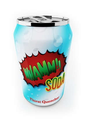 quencher: Fictional soda can up close over white background