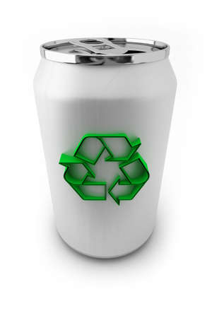 Aluminum soda can with green recycling symbol on it photo