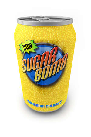 Sugar loaded soda drink in a can with made up label photo