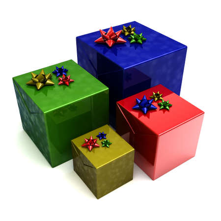 Four gift boxes in different colors over white photo