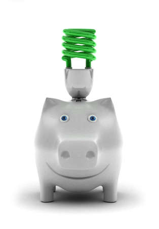 human energy: Happy piggy bank, smiling about conserving energy