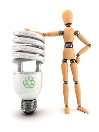 bombillo ahorrador: Maniqu� de madera, la celebraci�n de una l�mpara de ahorro de energ�a