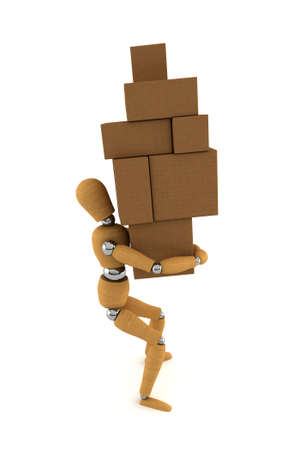 Wooden mannequin carrying heavy moving boxes Stock Photo