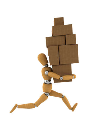 consume: Wooden mannequin moving heavy boxes around over white backgrounds Stock Photo