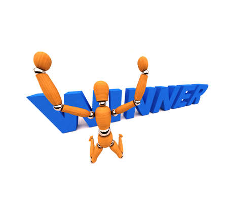Wooden mannequin jumping in the air celebrating victory Stock Photo - 3789273