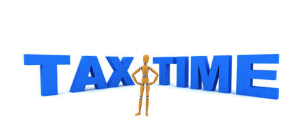 deduct: Wooden mannequin standing in front of the words Tax Time Stock Photo