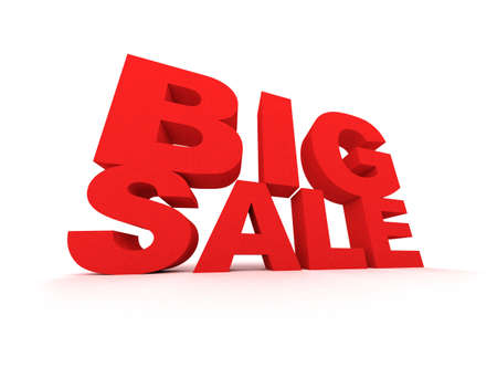 Big Sale sign in red over white background Stock Photo - 3804825