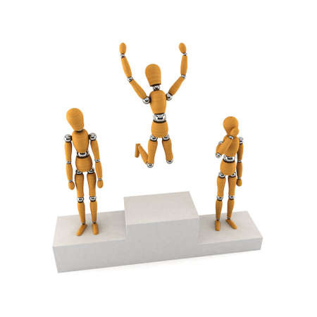 Wooden mannequins standing on a winners podium over white background photo