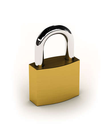New shiny padlock over white background photo