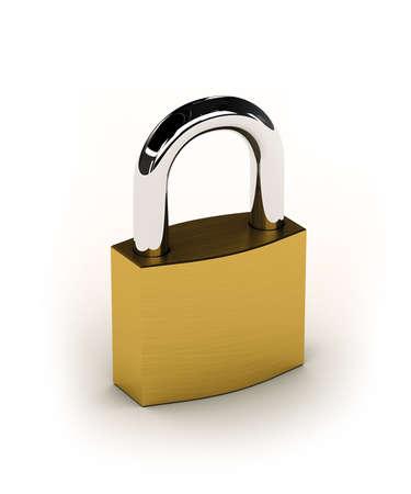 New shiny padlock over white background photo