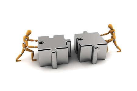 Zwei hölzerne Figuren drängen Puzzleteile zusammen Standard-Bild