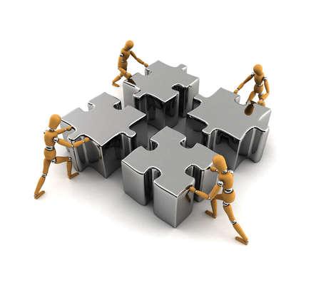 implement: Manichini di legno spingendo puzzle nel posto giusto