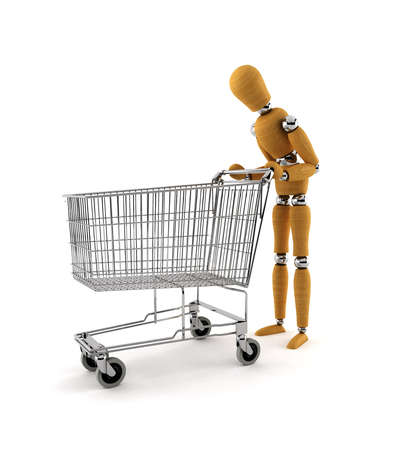Confused mannequin staring into empty shopping cart Stock Photo - 3952430