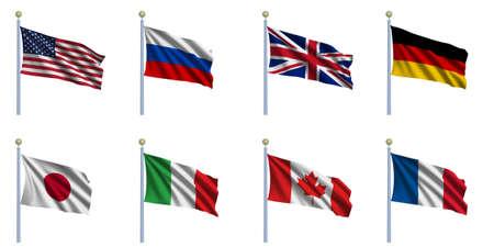 바람에 물결 치는 G8 국가의 주권 국가 국기 스톡 콘텐츠