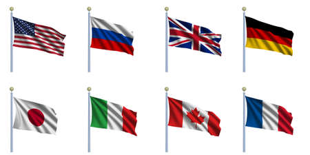 flagpoles: Sovereign-state flags of the G8 countries waving in the wind