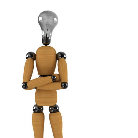 enlightened: Enlightened dummy - wooden mannequin with light bulb as a head