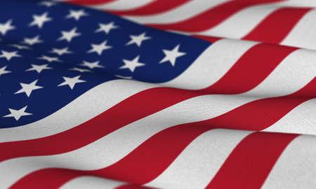 constitucion: Bandera de los EE.UU. ondeando en el viento con muy poca profundidad de campo Foto de archivo