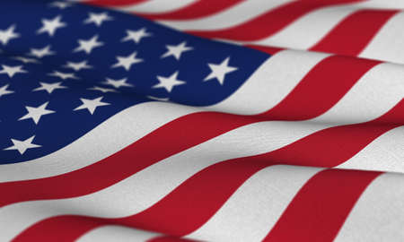 state election: Flag of the USA waving in the wind with very shallow depth of field Stock Photo