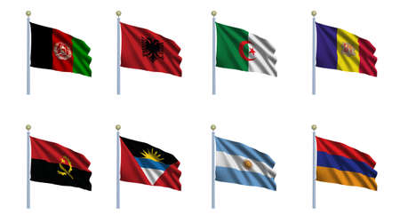 World flag set 01 - Afghanistan, Albania, Algeria, Andorra, Angola, Antigua and Barbuda, Argentina and Armenia photo